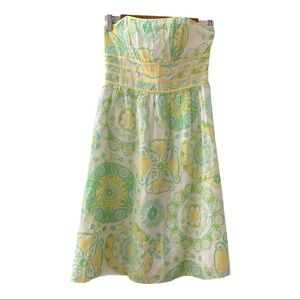 Lilly Pulitzer fountain of youth strapless dress